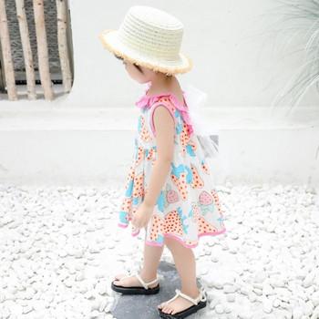 Актуална детска рокля разкроен модел в два цвята