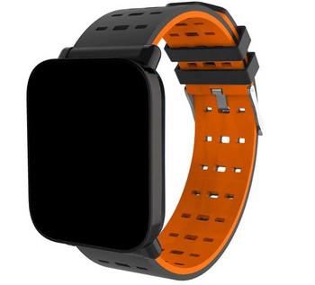 Смарт часовник в черен цвят с оранжево цвят модел A6