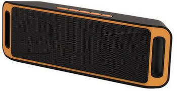 Преносима bluetooth колонка A2DP с AUX и USB порт и слот за TF/SD card в черен цвят оранжево