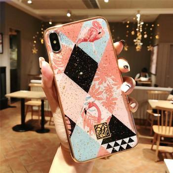 Силиконов калъф за iPhone X и XS с фламинго