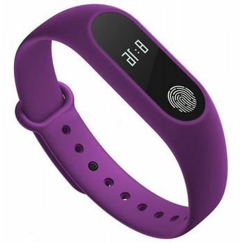 Фитнес гривна със силиконова каишка модел M2 в лилав цвят