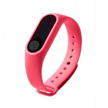 Фитнес гривна със силиконова каишка модел M2 в розов цвят