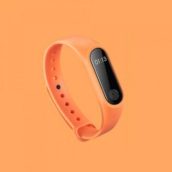 Фитнес гривна със силиконова каишка модел M2 в оранжев цвят
