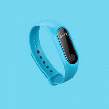 Фитнес гривна със силиконова каишка модел M2 в син цвят