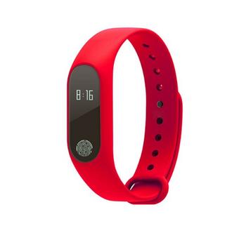 Фитнес гривна със силиконова каишка модел M2 в червен цвят