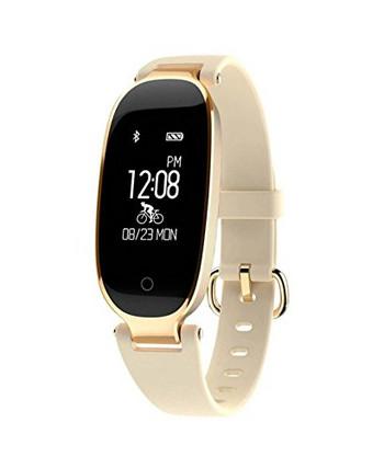 Стилен смарт часовник със силиконова каишка модел S3 - златист цвят
