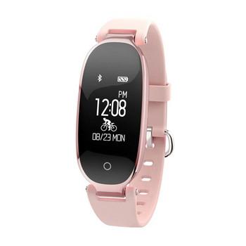Стилен смарт часовник със силиконова каишка модел S3 - розов цвят