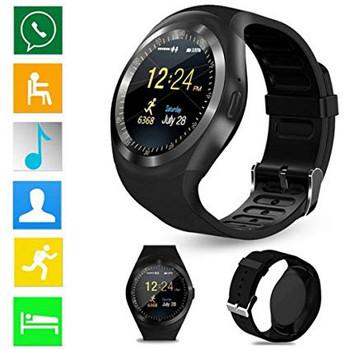 Смарт часовник в черен цвят и силиконова каишка - модел Y1