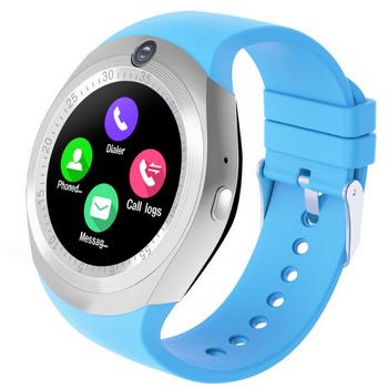Смарт часовник в син цвят и силиконова каишка - модел Y1