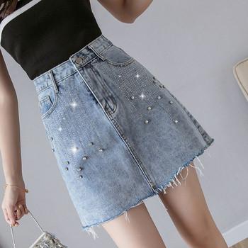 Модерна дамска дънкова пола с камъни в син цвят