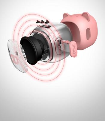 Преносима bluetooth колонка D10 с USB порт и слот за TF/SD card - розов цвят