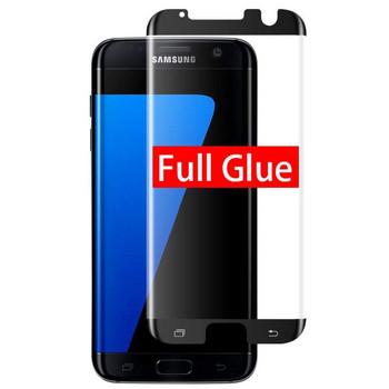 Стъклен протектор за Samsung S7 edge - Full glue черен