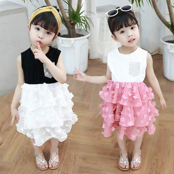 Стилна детска рокля в два цвята с О-образно деколте