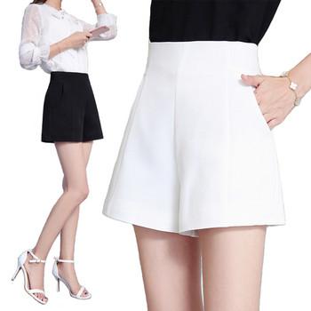 Дамски къси панталони с висока талия в бял и черен цвят