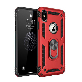 Удароустойчив калъф за телефон с метален ринг за iPhone X и XS в червен цвят