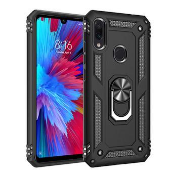 Удароустойчив калъф за телефон с метален ринг за iPhone XS Max в черен цвят