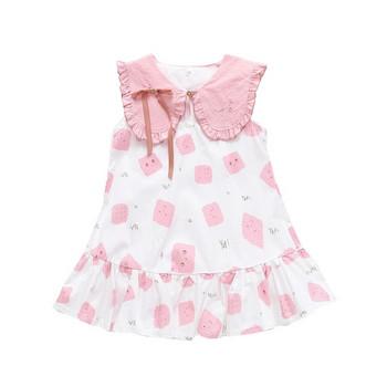 Актуална детска рокля разкроен модел-два цвята