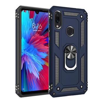 Удароустойчив калъф за телефон с метален ринг за iPhone XS Max в син цвят