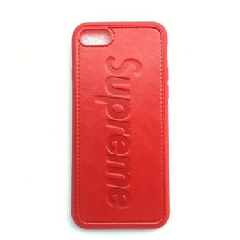 Червен силиконов калъф с гръб от еко кожа за iPhone 6 и iPhone 6S