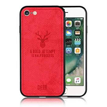 Червен силиконов калъф с гръб от еко кожа за iPhone 6 plus / iPhone 6S plus