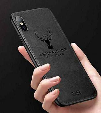 Черен силиконов калъф с гръб от еко кожа за iPhone XS Max