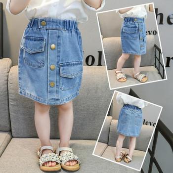 Модерна детска пола с копчета и джобове