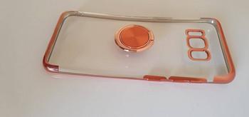 Силиконов калъф с пръстен за Samsung S8 в розов цвят