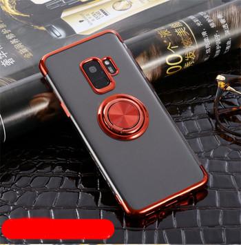 Силиконов калъф с пръстен за Samsung S9 plus в червен цвят