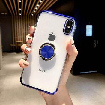 Силиконов калъф с пръстен за iPhone XS Max в син цвят