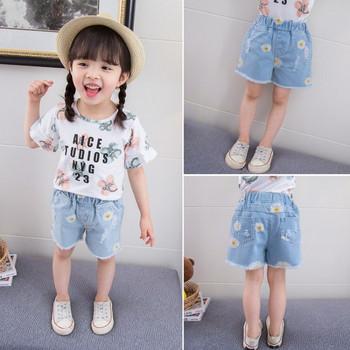 Детски къси дънки в син цвят с джобове за момичета