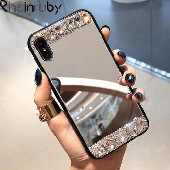 Огледален калъф с камъни за iPhone XR