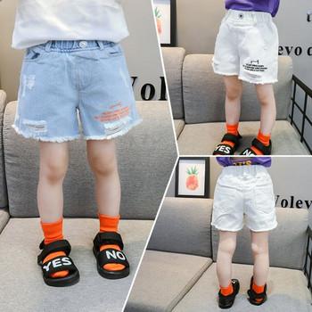 Детски къси дънки за момичета в два цвята с бродерия