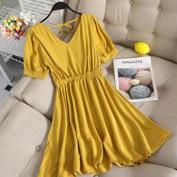 Ежедневна дамска рокля разкроен модел с къс ръкав в няколко цвята