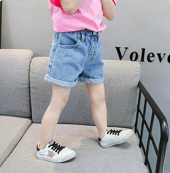 Детски къси дънки с джобове и копче-за момичета