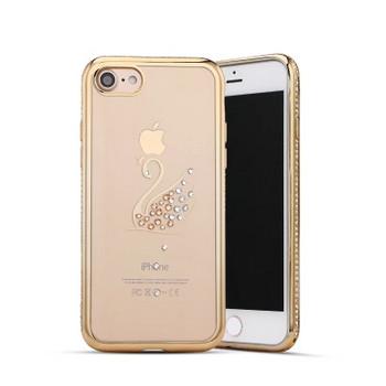 Силиконов калъф с декорация камъни в златист цвят за iPhone 6 и iPhone 6S