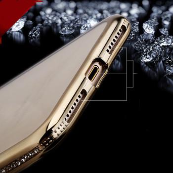 Силиконов калъф с декорация камъни в златист цвят за iPhone 7 plus и iPhone 8 plus