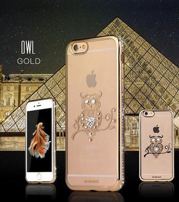 Силиконов калъф с декорация камъни в златист цвят за iPhone 7 и iPhone 8