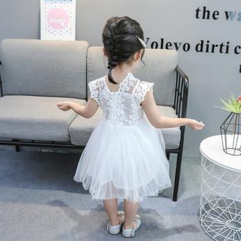 Детска модерна рокля в два цвята с тюл и дантела