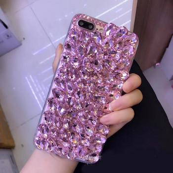 Силиконов калъф с камъни в розов цвят за iPhone 7 plus и iPhone 8 plus