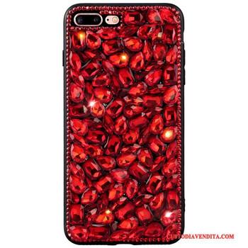 Силиконов калъф с камъни в червен цвят за iPhone X и iPhone XS