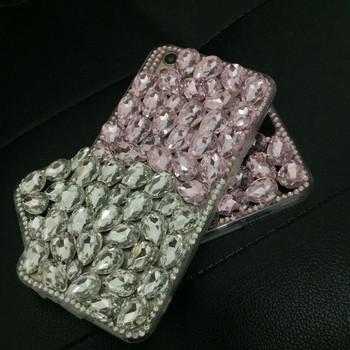 Силиконов калъф с камъни в бял  и розов цвят за iPhone 7 plus и iPhone 8 plus