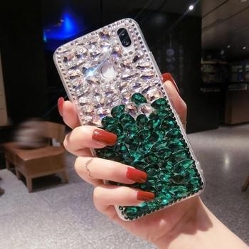 Силиконов калъф с камъни в бял и зелен цвят за iPhone 6 plus и iPhone 6s plus