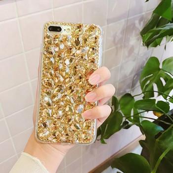 Силиконов калъф с камъни в жълт  цвят за iPhone 6 и iPhone 6S
