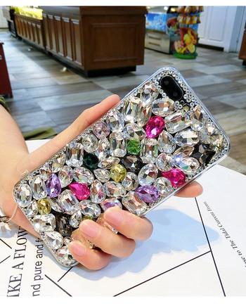 Силиконов калъф с  цветни камъни за iPhone 7 и iPhone 8