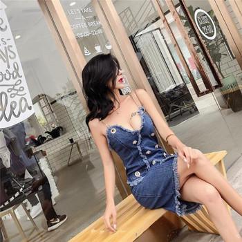 Дамска дънкова рокля с V-образно деколте