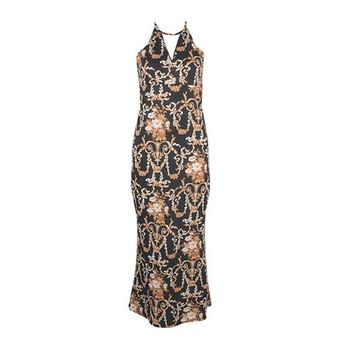 Дамска елегантна дълга рокля с цепка