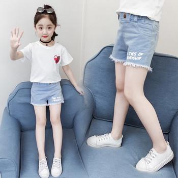 Детски къси дънки с надпис-за момичета