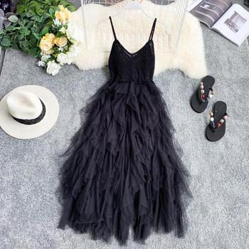 Нов модел дълга дамска рокля с тюл в няколко цвята