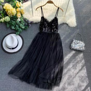 Модерна дамска рокля с пайети и тюл в няколко цвята