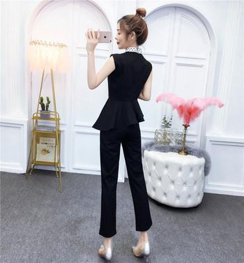 Дамски костюм от две части в черен и бял цвят
